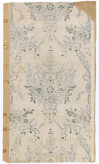 """Diaper pattern with the repeating central motif of a fountain on a pedestal surrounded by an abundance of flowers. The diaper is formed of ribbon with bows. Printed in gray and green on a white ground. Original document for """"The Fountain""""."""