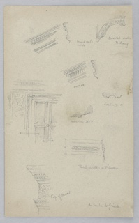 Eight sketches of ornamental architecture, labelled. Capitals, doorframe design, handrails and brackets.