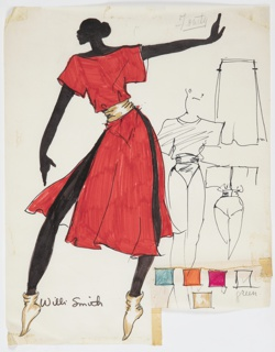 """Drawing, Costume Design for """"The Deep South Suite"""", ca. 1975"""
