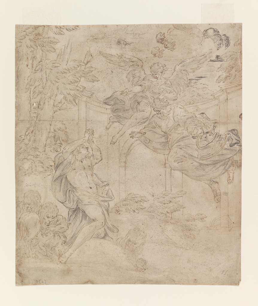 Vertical rectangle. The Figure of Daniel at left, surrounded by lions, is pleading for divine assistance to rescue him from imminent death. He kneels on a rock and raises his arms above his head in a pleading gesture, looking up to a winged female figure and a male figure holding a basket and flying above. Indications of arched architecture and landscape with trees and bushes.