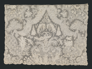 Fine lace cravat end depicting Cupid with a bow and arrow standing in a fountain in which swans are swimming; surrounded by an elaborate framing of swags and tassels, exotic foliage and birds.