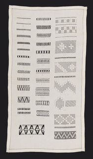 Sample cloth to take embroidery orders for linens.  Thirty-seven different patterns of withdrawn and deflected element work, each identified with an embroidered number, arranged in a vertical rectangle.