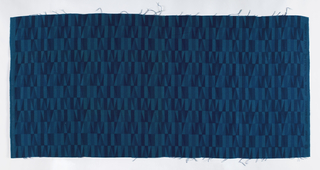 Fragment of printed linen with rows of narrow triangles and rectangles. Component 1-a is in shades of yellow; 1-b is in shades of blue.