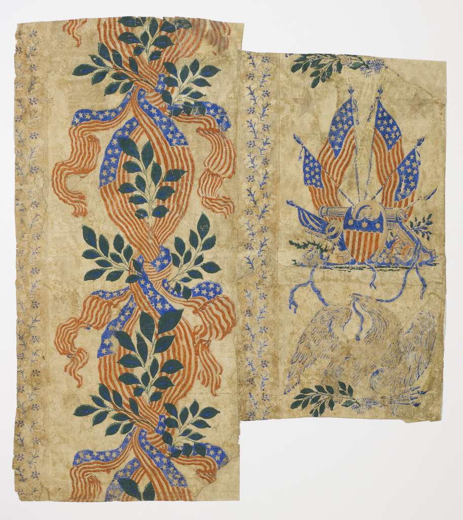 2 different designs mounted on support. Narrow band of blue foliate sprigs on left edge, with wider band of American flag ribbons forming guilloche design. Another narrow band of blue foliate sprigs, with wider band containing American flags, cannon, shield and drum, alternating with eagle holding arrows and laurel sprigs. Printed in red, blue and green on off-white ground.