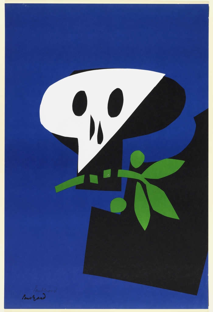 Vertical rectangle. Stylized skull in black and white, clenching in its teeth a green branch with berries (olive branch), on dark blue background.