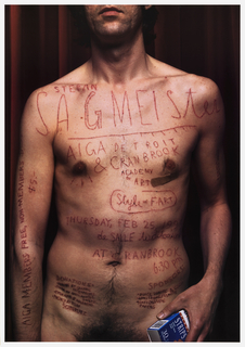 "Poster is both announcement of an AIGA program and a self portrait of the designer.  Color photographic reproduction of designer shown from mouth to lower waist and holding package of ""Duane Reade"" brand band-aids in right hand against red drapery.  Text is inscribed on body with X-acto knife. Bandage below his right nipple region."