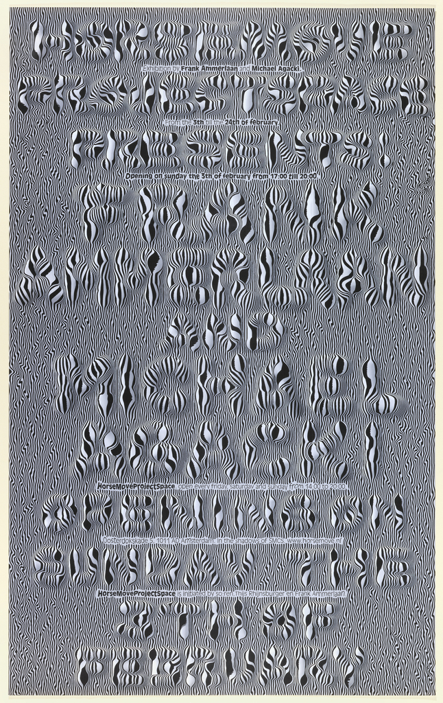 Typographic forms emerge through an overall pattern of black and white. Effect is of three dimensional embossing.