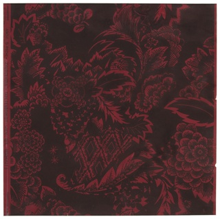 Floral design with a central cornucopia filled with a bouquet of sylized flowers and foliage. Printed in black on a deep red ground.
