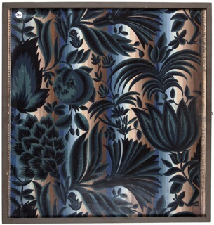 Large-scale flowers, possibly carnations and tulips, interspersed with smaller vining flowers and pomegranates. Printed on a brown and blue striped background.