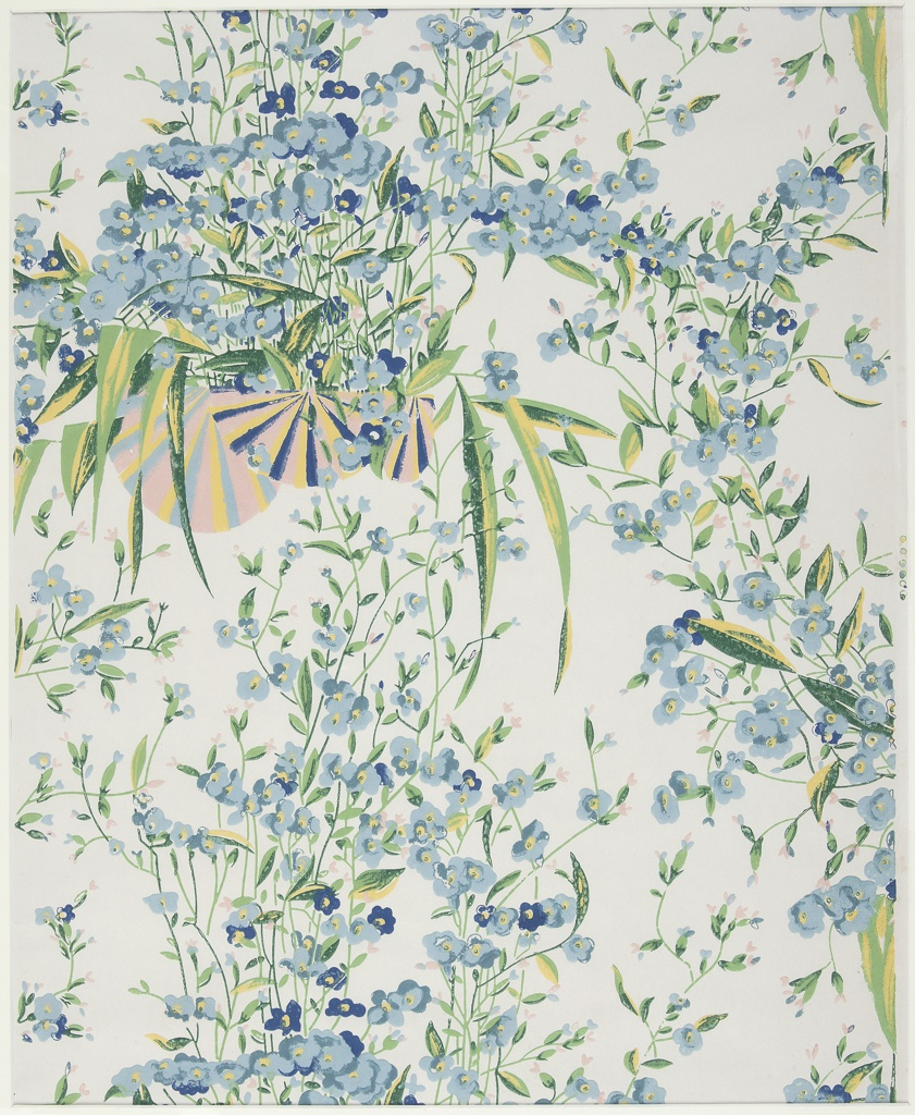 Clusters of small blue and pink flowers on vining stems appear to sprout out of a group of three fans printed in terra cotta, yellow, and blue. The vining flowers intertwine with long pointy foliage to partially cover fans. This single motif repeats in a half-drop fashion.  Printed in blue, green, yellow, and pink on a white ground.