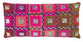 Rectangular pillow with rows of concentric squares containing hot pink, purple, olive green, brown, orange, and mylar.