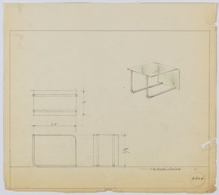 Perspective, plan, and elevation drawing for end table. Top surface and side of table in one sheet of glass; rounded edge at right. Two tubular metal legs at left become base below.