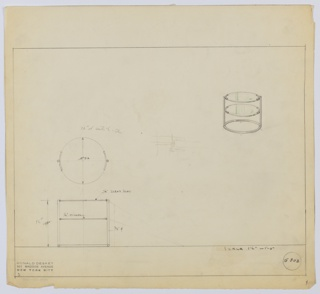 Perspective, plan, and elevation drawing for circular table. Clear glass on top surface, mirrored glass on shelf below. Frame of table in tubular metal; rod support on each side, circular base.