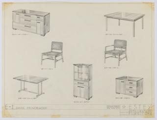 Drawing, Dining Room, Estey Suite, ca. 1935