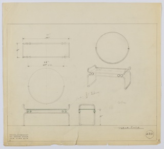 Perspective, plan, and elevation drawing for narrow vanity and circular mirror. Long, rectangular vanity with tubular metal frame, rounded corners. Top portion of table supported by two glass balls at each edge; frame below of tubular metal. Circular mirror above with frame around lower half of mirror.