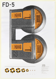Photographic representation derived from raster dots showing a vertically oriented, double head parking meter, orange and black,  Each raster dot is a small analogue clock face which represents the violation time of one of 143702 violations between 1998 and 2005.
