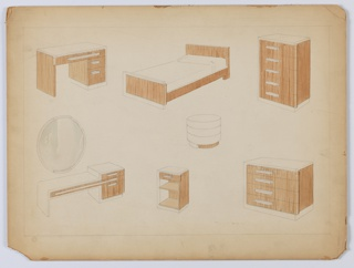 Drawing, Design for a Bedroom Suite in Lacquer and Wood, 1930–1935