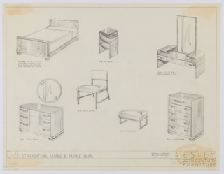 Drawing, Bedroom, Estey Suite, ca. 1935