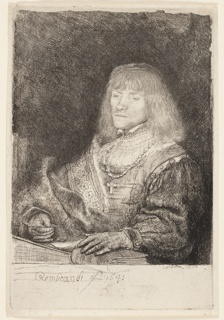 Print, Man at a Desk Wearing a Cross and Chain, 1641
