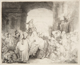Within a low archway, Mordecai, on horseback, is surrounded by a large group of people. In the foreground, left, a turbaned figure moves forward, gesturing to the viewer.