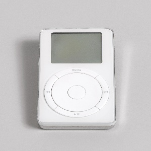 """Rectangular form; white front having rectangular read-out screen above circular scroll wheel with central button, and surrounded by circle made up of four raised, curved segments: the top segment with """"menu"""", the remaining segments (starting at right, going clockwise) with symbols for forward, pause, and back. Back of silver-colored plastic with Apple logo and product information. Control switches and jacks on top."""