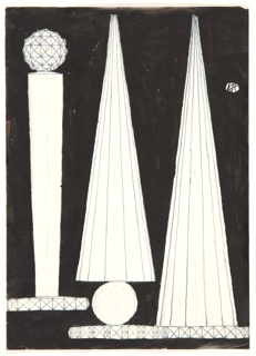 On a black ground, three volumes in white. At far left, a tapered column, with a faceted orb at top, on a similarly faceted base. At right, two volumes each of a conical shape, striated vertically, each on a base similar to that of the left-most volume. The center volume is connected to its base via a circular orb, hatched to give an impression of volume.