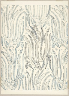 Design for a textile with repeating pattern of an organic, curvilinear wheat motif.