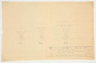 Design for three pieces of furniture, arranged horizontally on the page. At left and center are designs for stools, while a table for children is at right. Each follows a similar composition – two discs connected with lines that cross diagonally from upper plane to lower, giving the support an hourglass-like form. Model numbers printed below (L to R: 85, 86, 87), with scale information surrounding. Information on the project appears at lower right, in a chart format.
