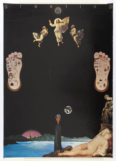 """Poster, Greeting, poster for the Haizuka Printing House. Second in the series, """"Jesus and Buddha"""""""