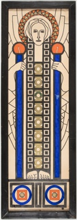 A pillar-like figure stands at center, dominating most of the frame, geometric designs behind. The head is surrounded by a halo of orange and gold triangles, and the face looks calmly out. Body is comprised of geometric elements, as well, two columns of black squares flanking one of gold circles and short horizonal lines. The hands grip two vertical blue pillars, topped with orange orbs. Feet stand facing forward upon a geometric plinth with blue and orange circles and squares.