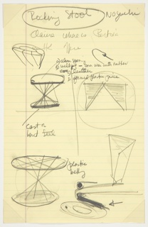 Sketches for fabrication of Rocking Stool. Sheet is titled and signed at top and divided centrally into quadrants. Clockwise from top left: 1) a ring with overhanging lines converging on a central point, and an elevation of the stool with notations. 2) representation of a welded fastening edge, and a rectilinear form segmented into three triangles, with the outermost two shaded, a circle surrounding the whole. 3) A prism-like figure and a sketch of the plastic welding that will be featured in the stool. 4) Elevation of the stool, seen somewhat from above so that the full circumference of the top and bottom are apparent. Notes surround.
