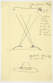 Two views of sketches for Rocking Stool. Top shows straight-on view, with curved line indicating seat, two sets of converging lines cross to opposite corners to indicate supporting rods, and two curved lines at bottom indicate base. Notations to indicate soft plastic top, wire in rim, and rubber slit tube to give bulk and passing to rim of frame. Below, a drawing of the 'metal stamped doughnut' that forms the base.