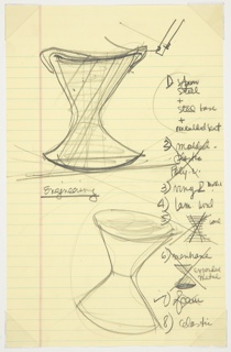 Two large hour-glass shaped forms dominate the page, with dynamic lines tracing range of motion. The word 'engineering,' underlined beneath. A handwritten, numbered list, to the right, listing materials. Some are crossed out, others have a check mark beside. Beneath some of the materials is a small sketch, showing how the material might function given the hour-glass form of the stool.