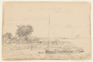 At the seashore, the land being shown at left. A sailboat is anchored in the right foreground. Trees are shown in the left middle and the right distance. Parts of framing lines.