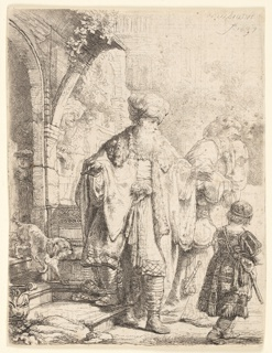 "Abraham stands in the center foreground, facing the spectator, his head turned toward the right in profile. He gestures with his left hand toward the figures of Hagar and young Ishmael, moving to right. Signed and dated, upper right: ""Rembrandt / f. 1637."""