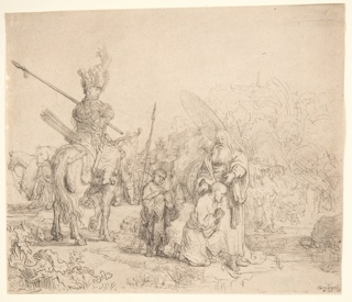 In the foreground, right of center, the eunuch kneels, facing right in profile. The rite is being performed by a bearded figure s tanding beside him. A soldier on horseback, left.
