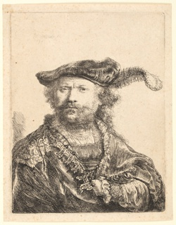 Half-length portrait of the artist, turned toward the right, the head facing the spectator, full-face. He wears a velvet cap with a plume, and an elaborate costume. His left arm is visible.