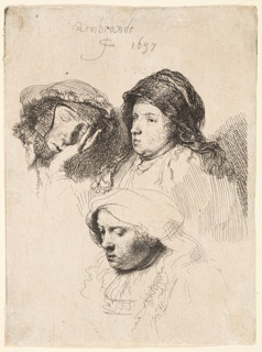 Three heads of women: above, left, woman asleep, her head resting on her hand; right, woman, facing left, the head in three-quarters view.