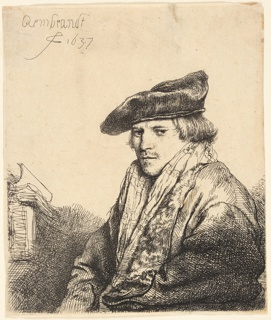 Half-length portrait of a man, t urned toward the left, looking out at the spectator in t hree-quarters view. He wears a velvet cap and there aree a number of books on the table beside him, left.