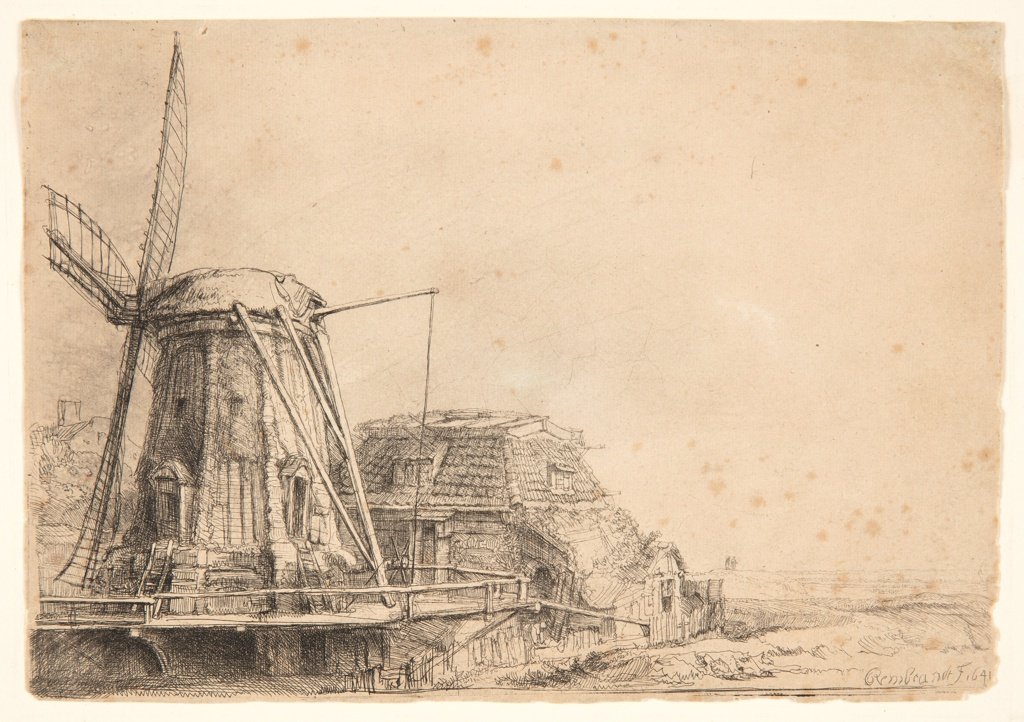 Windmill in foreground, left, with a ramshackle cottage beyond it.