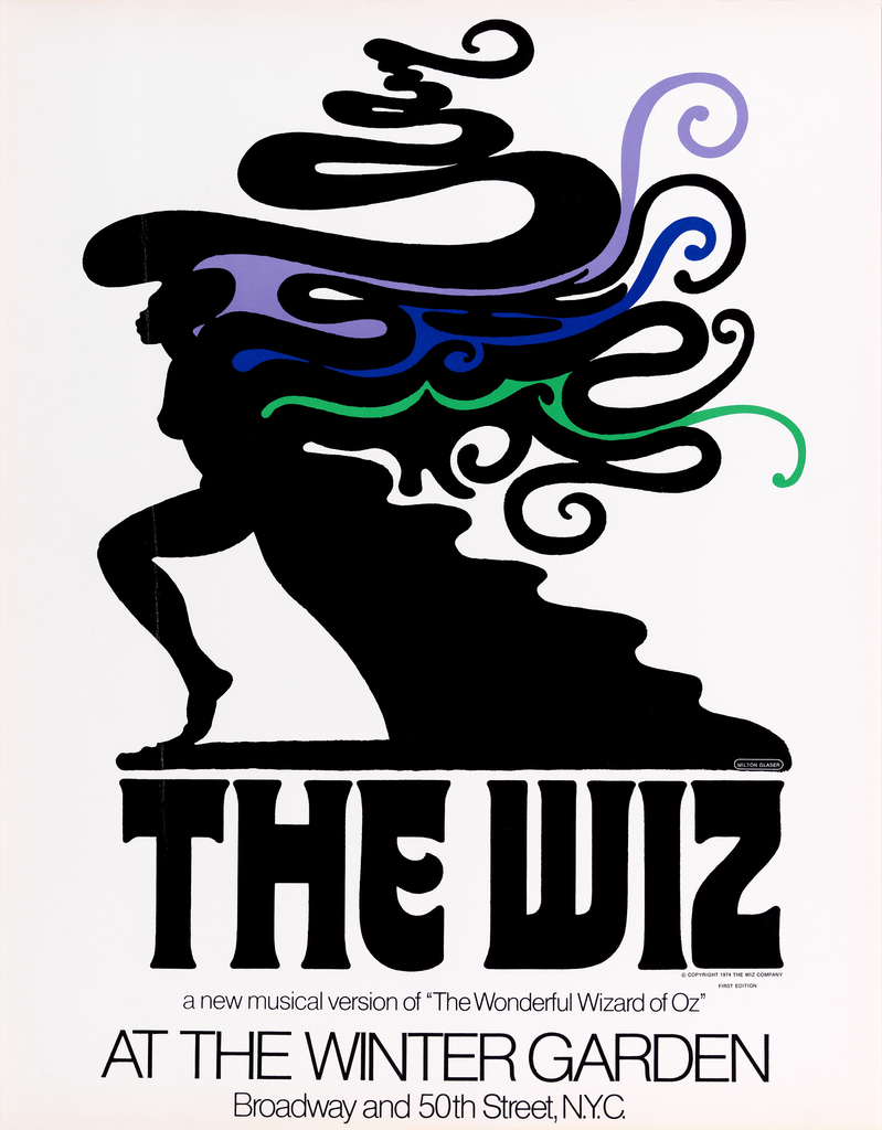 """Tan poster with central image in black of a woman in profile, walking to the left, with abstract swirls in black, violet, blue and green radiating off her head and back, reminiscent of smoke. What appears to be the train of a dress takes the form of stairs or waves underneath these swirls. Below, text in large black letters: THE WIZ / [in smaller letters:] a new musical version of """"The Wonderful Wizard of Oz""""/ AT THE WINTER GARDEN / Broadway and 50th Street, N.Y.C."""