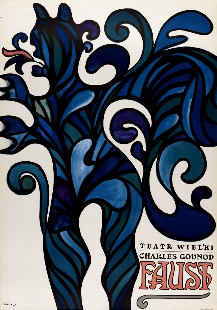 White poster with prominent, demonic figure composed of colorful swirls of dark blue, light blue, purple, green and pink. Text in black and pink in bottom right corner reads: Teatr Wielki/ Charles Gounod/ FAUST.
