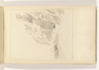 Unfinished sketch of choppy ocean in foreground with waves breaking on two sections of large, tall cliffs at right.