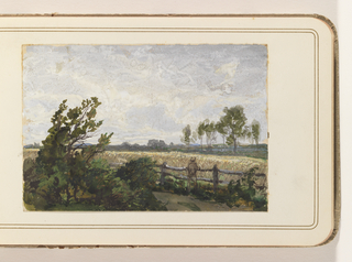 Windswept bushes in the left corner, a field to the right. A man, his back to the viewer, leans on a fence, looking into the distance over the field. Clouds fill the sky.
