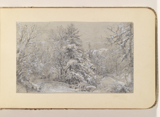Album Page, Woodland Snow Interior with Stream
