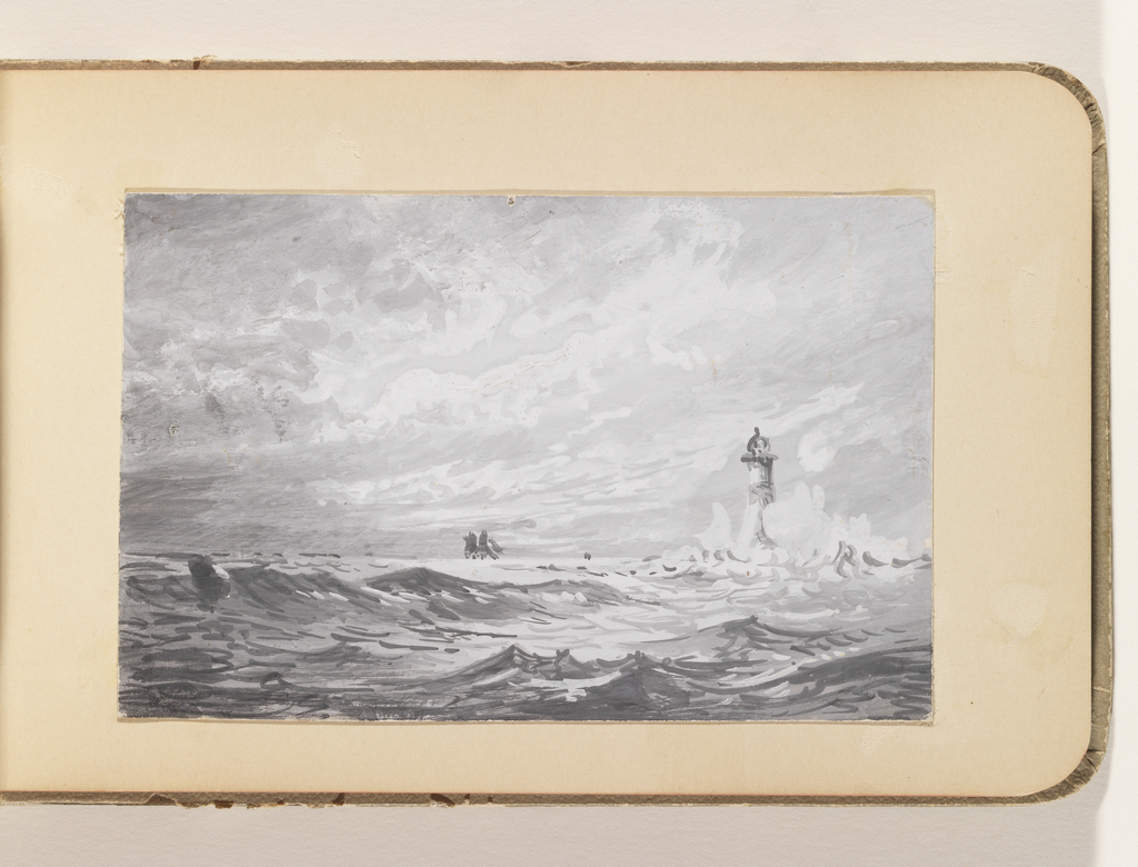 Stormy seascape with high waves crashing against lighthouse at right.  Schooner visible on the horizon, center; storm clouds echo churning seas.