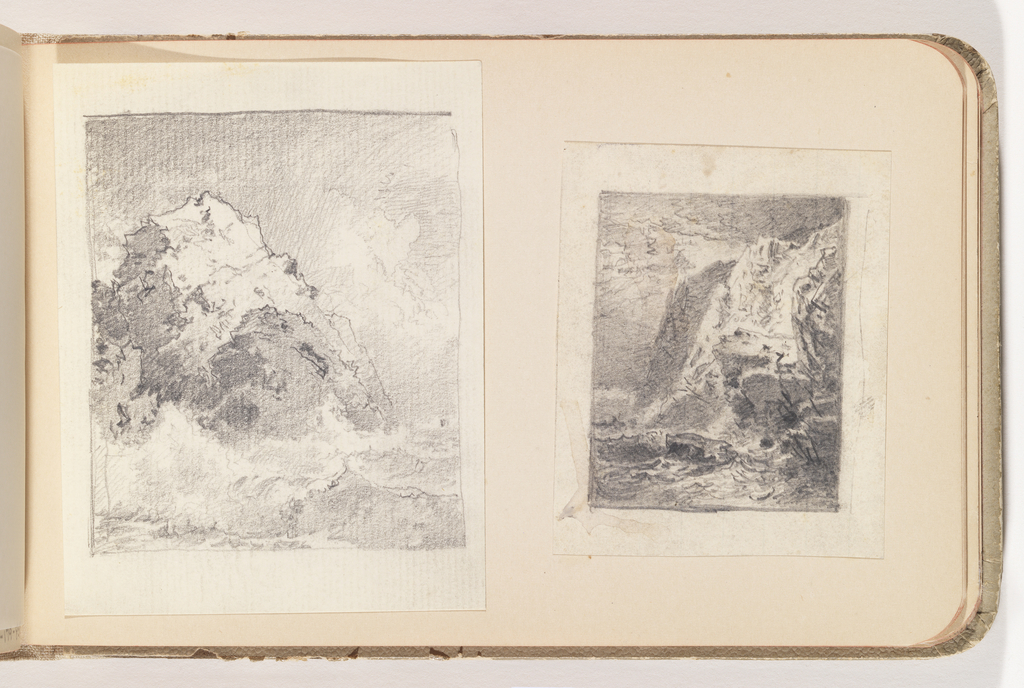 Two rounded cliffs, middle ground left of center; high waves below.