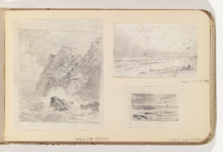 Sketch of ocean breaking on beach with ships on horizon at left.  Two figures or plants on beach, lower right.