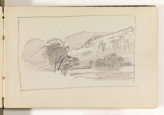 Unfinished sketch with trees at left and farther back at right. In distance, mountains at right.
