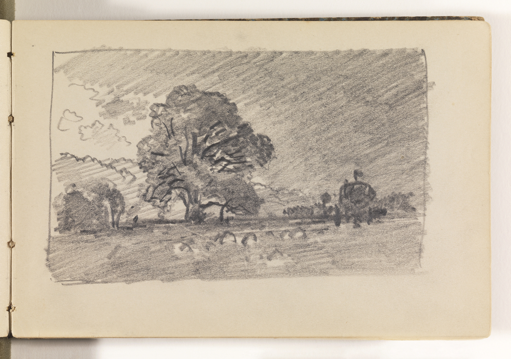 View of field with haystacks in center. Behind haystacks, a large tree. Further back, trees on horizon at left and right.